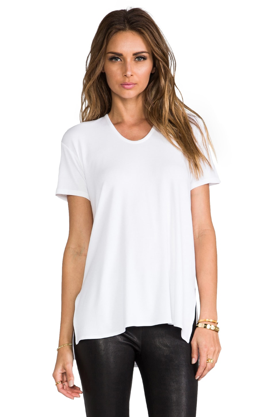 Theory Daga Short Sleeve Ribbed Viscose Tee in White