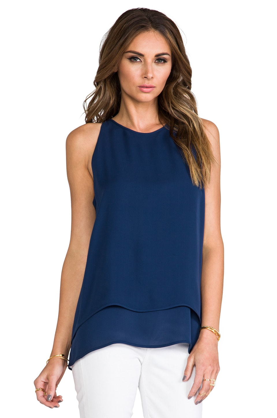 Theory Double Georgette Lyalka Tank in Pitch Blue