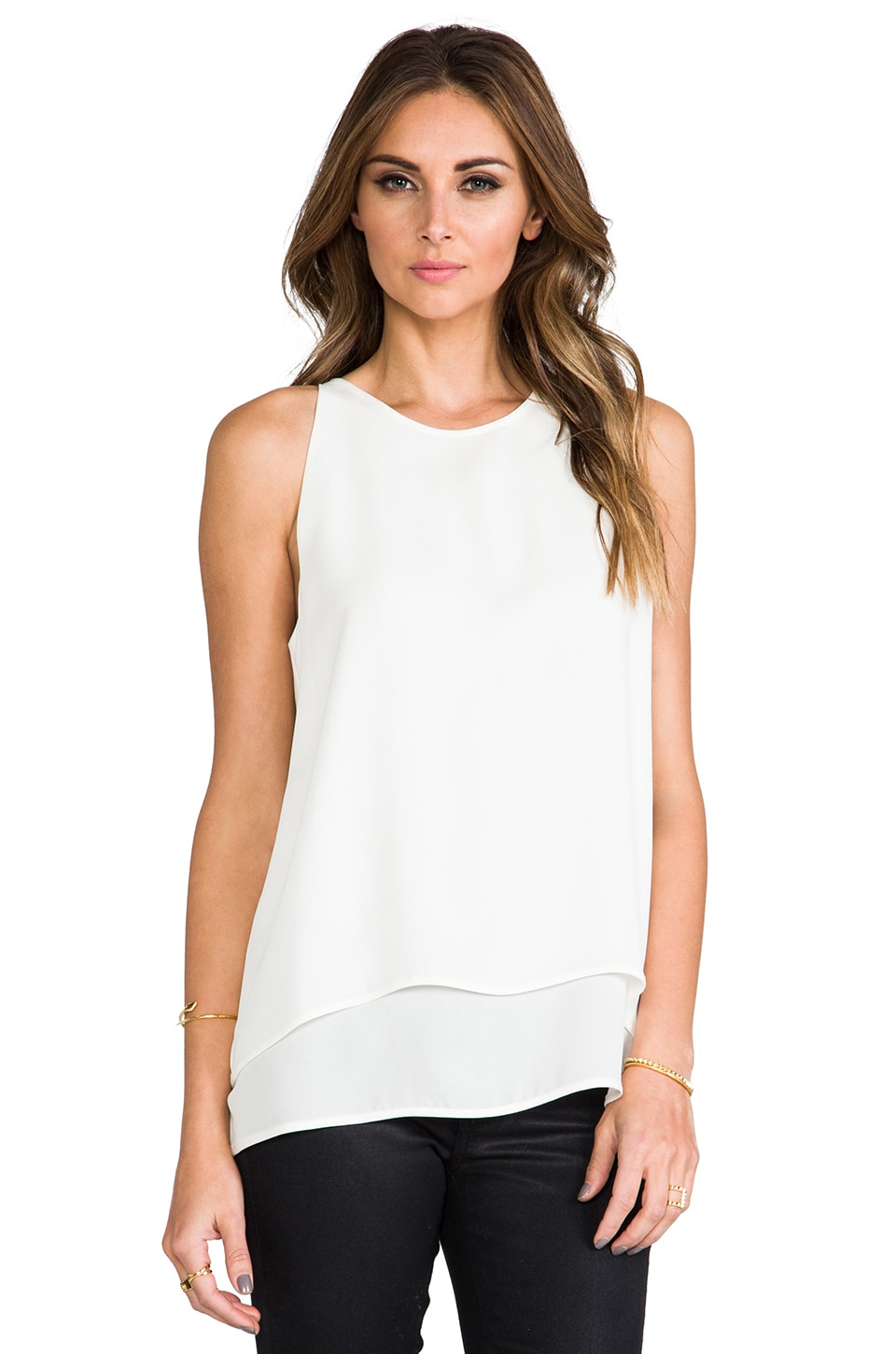 Theory Double Georgette Lyalka Tank in White