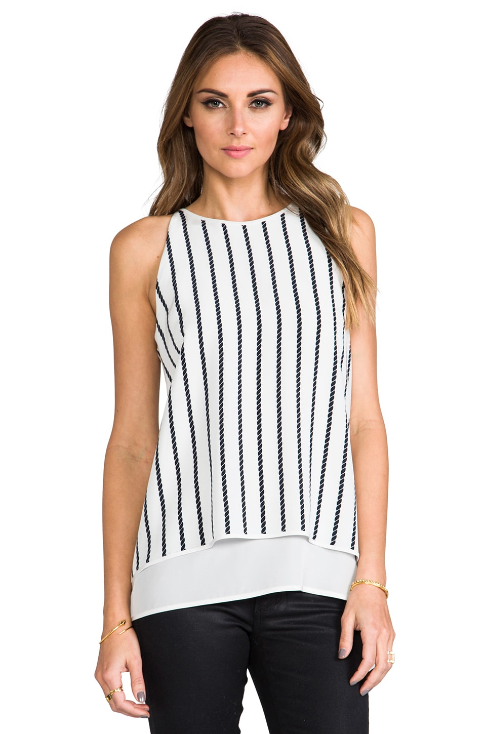 Theory Twine Small Print Lyalka Tank in Uniform Multi