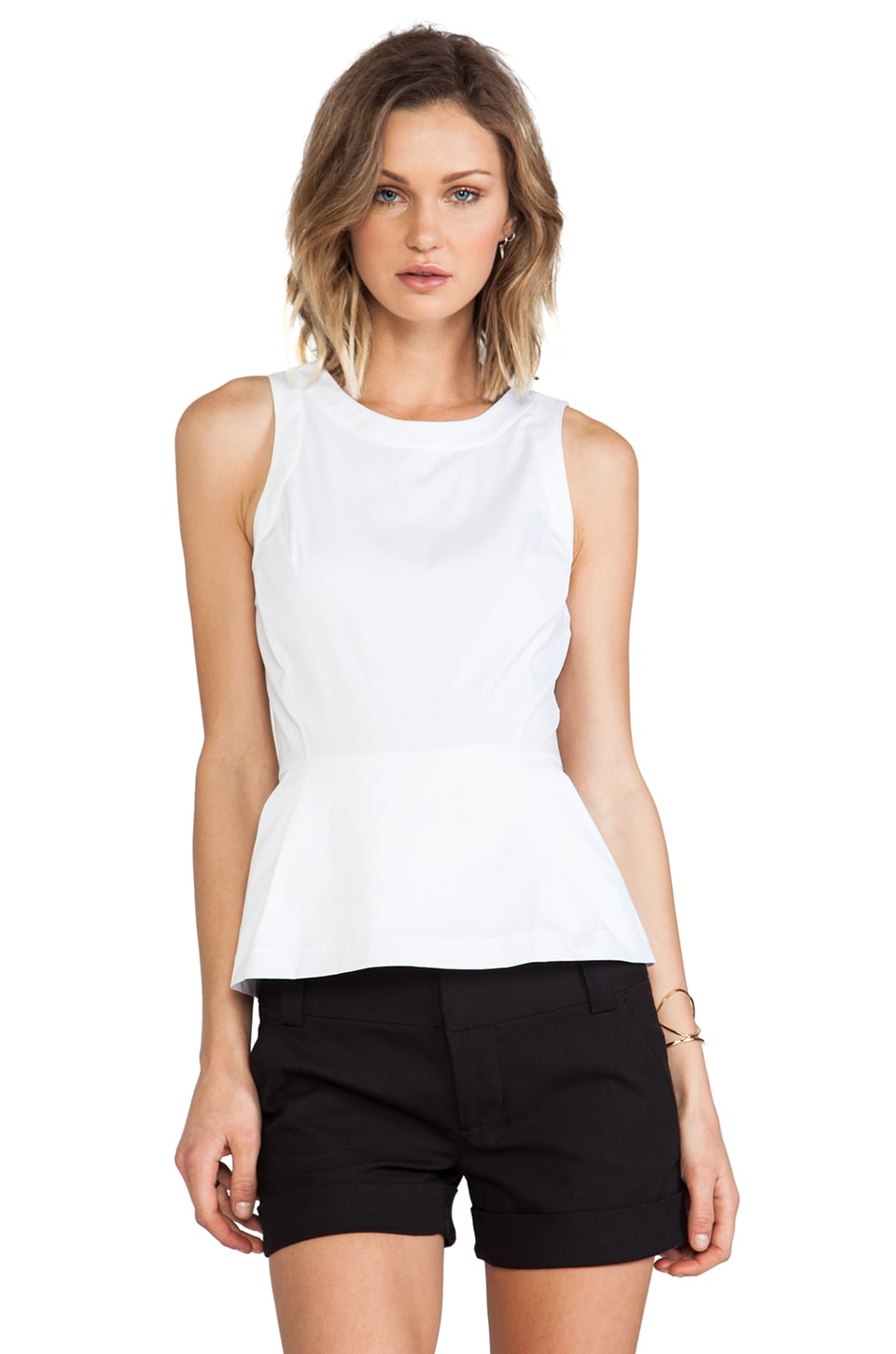 Theory Ballise Peplum Top in White