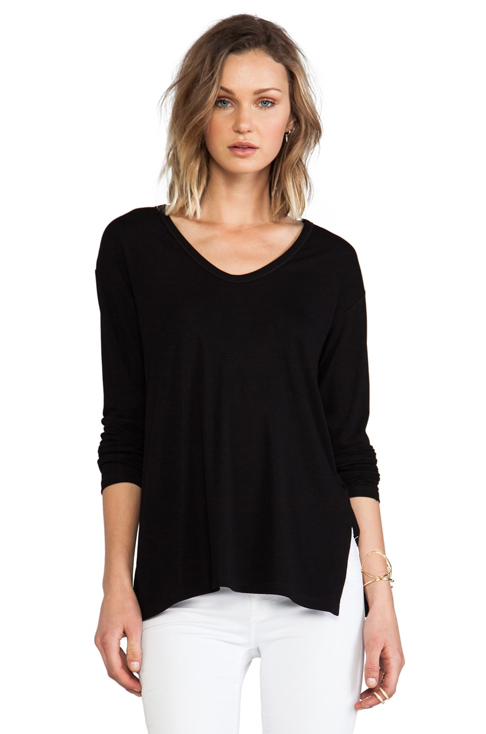 Theory Altha Long Sleeve Tee in Black