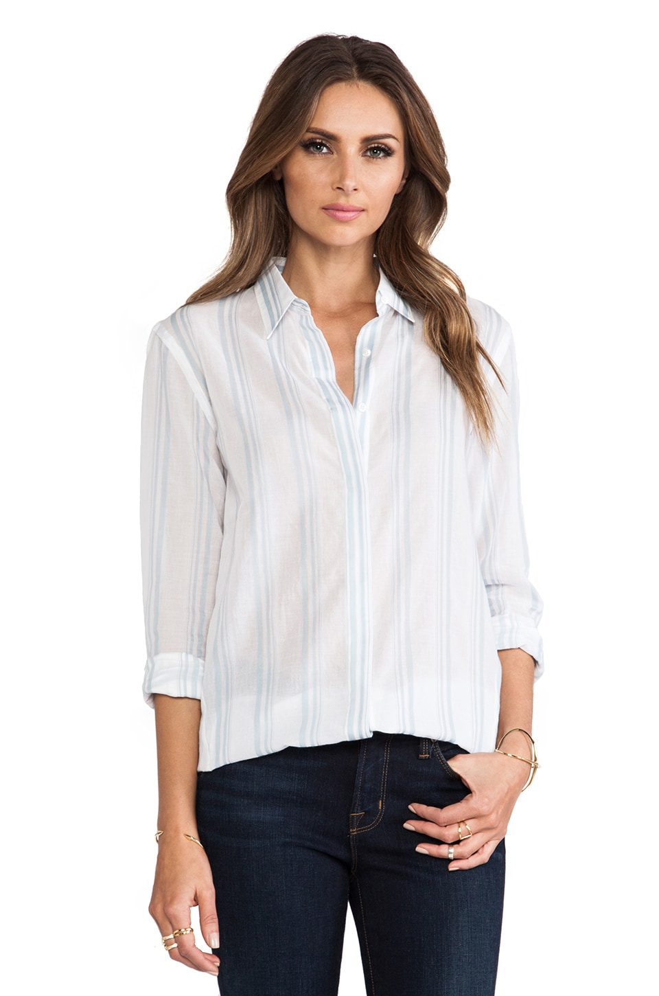 Theory Trillith Button Down in White & French Blue
