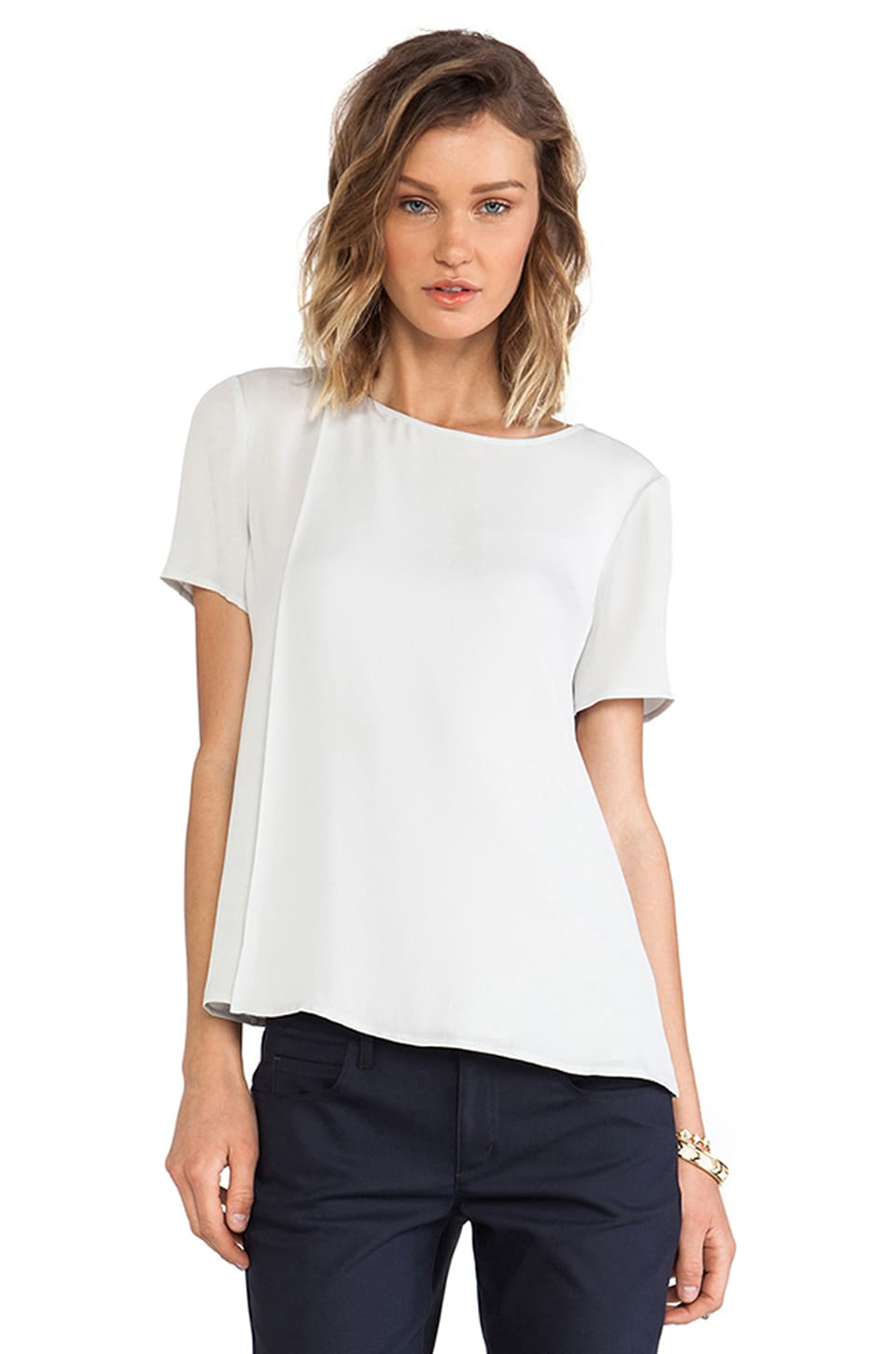 Theory Newnan Top in Silver Blue