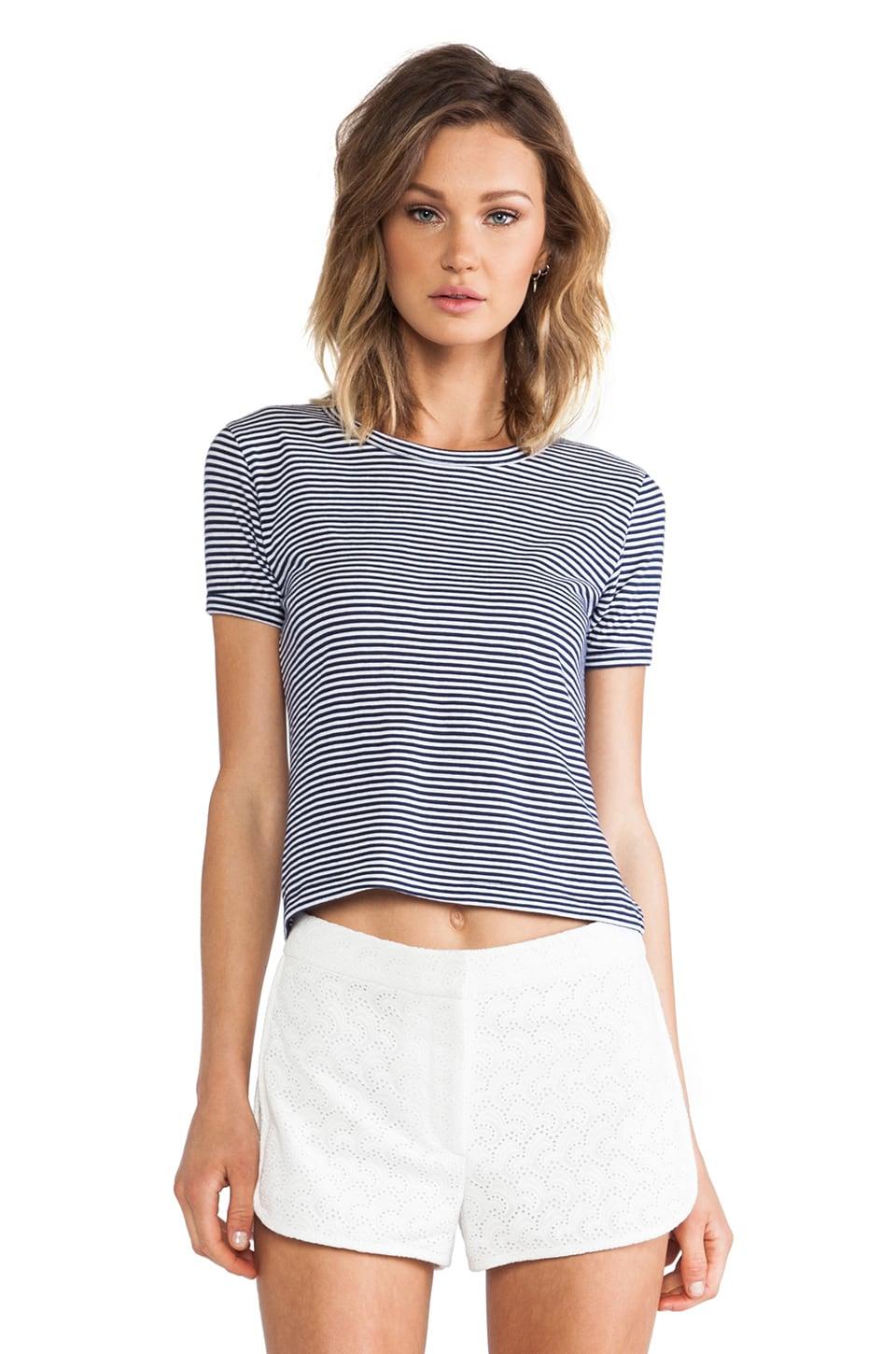 Theory Cropped Crew Tee in Denim Blue & White