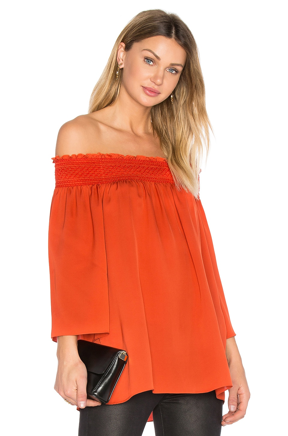 Theory Elistaire Off the Shoulder Blouse in Paprika