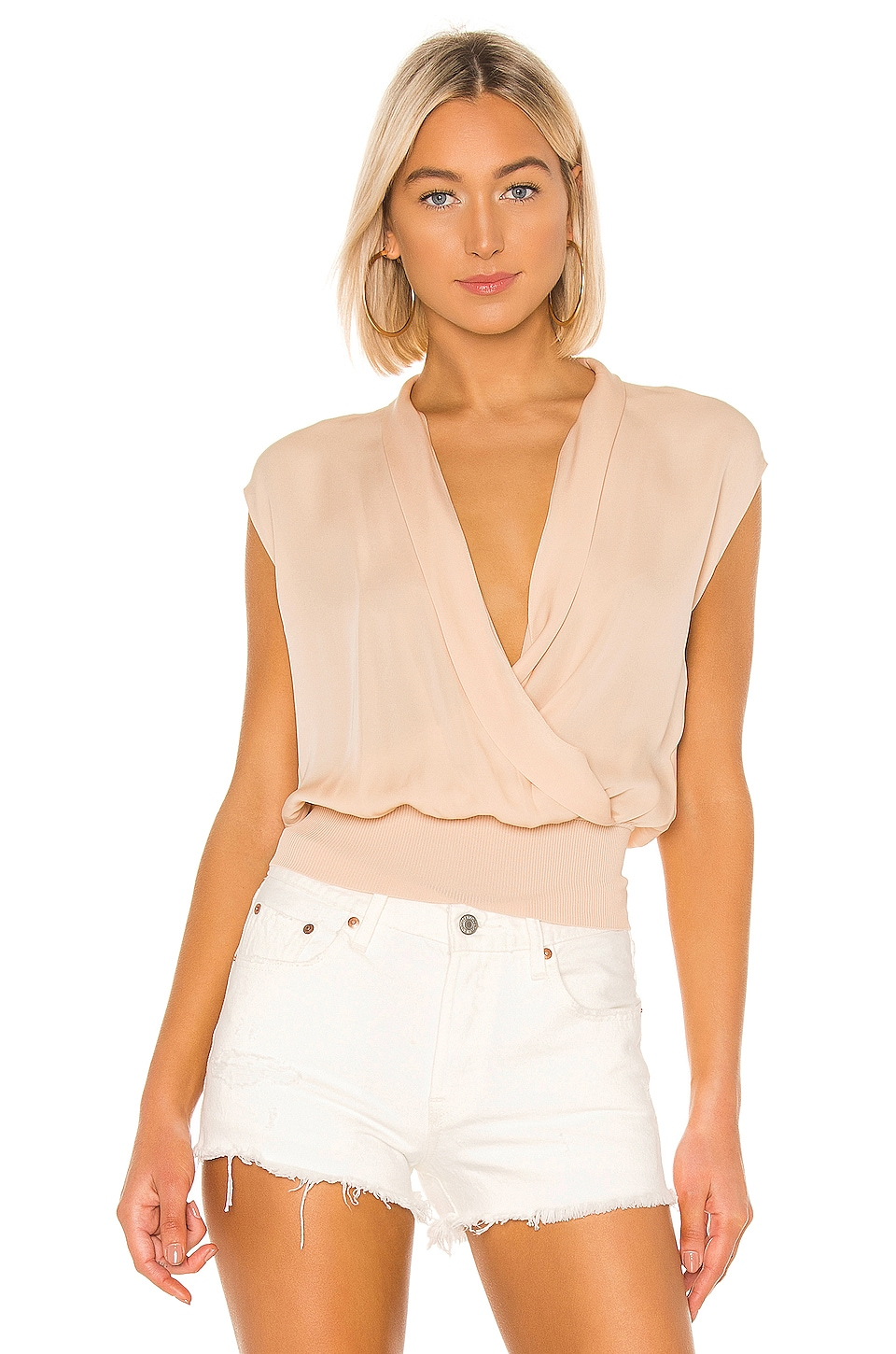 Theory Draped Combo Top in Shell Pink