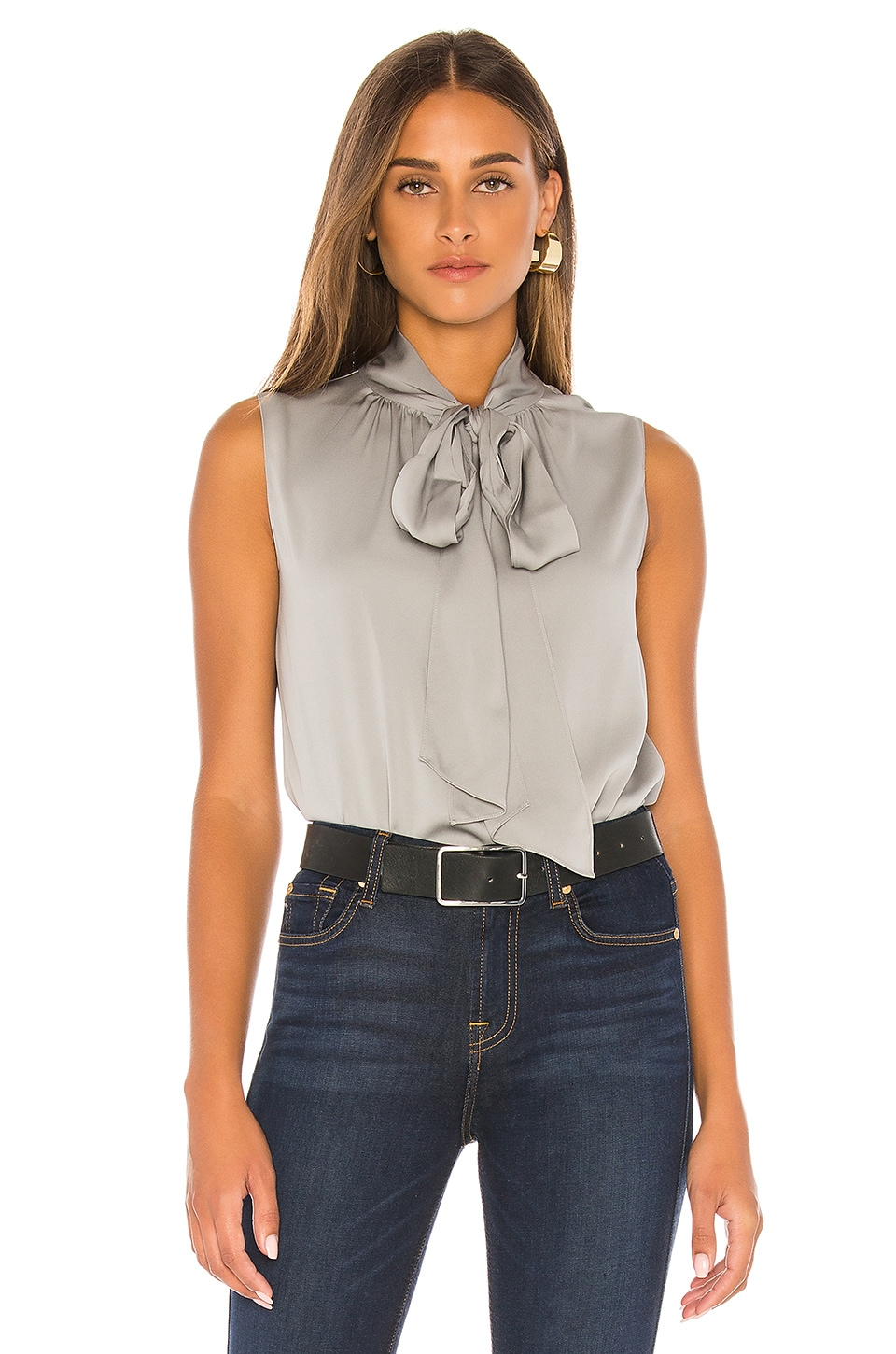 Theory Tie Scarf Top en Grey Violet