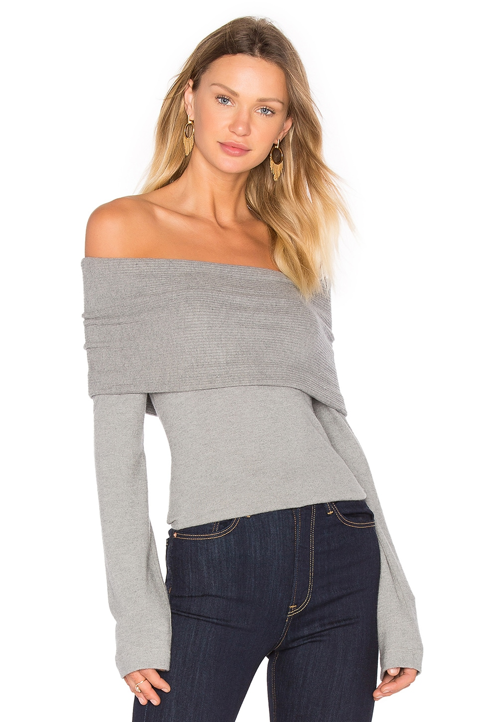 three dots Corey Off Shoulder Sweater in Granite | REVOLVE