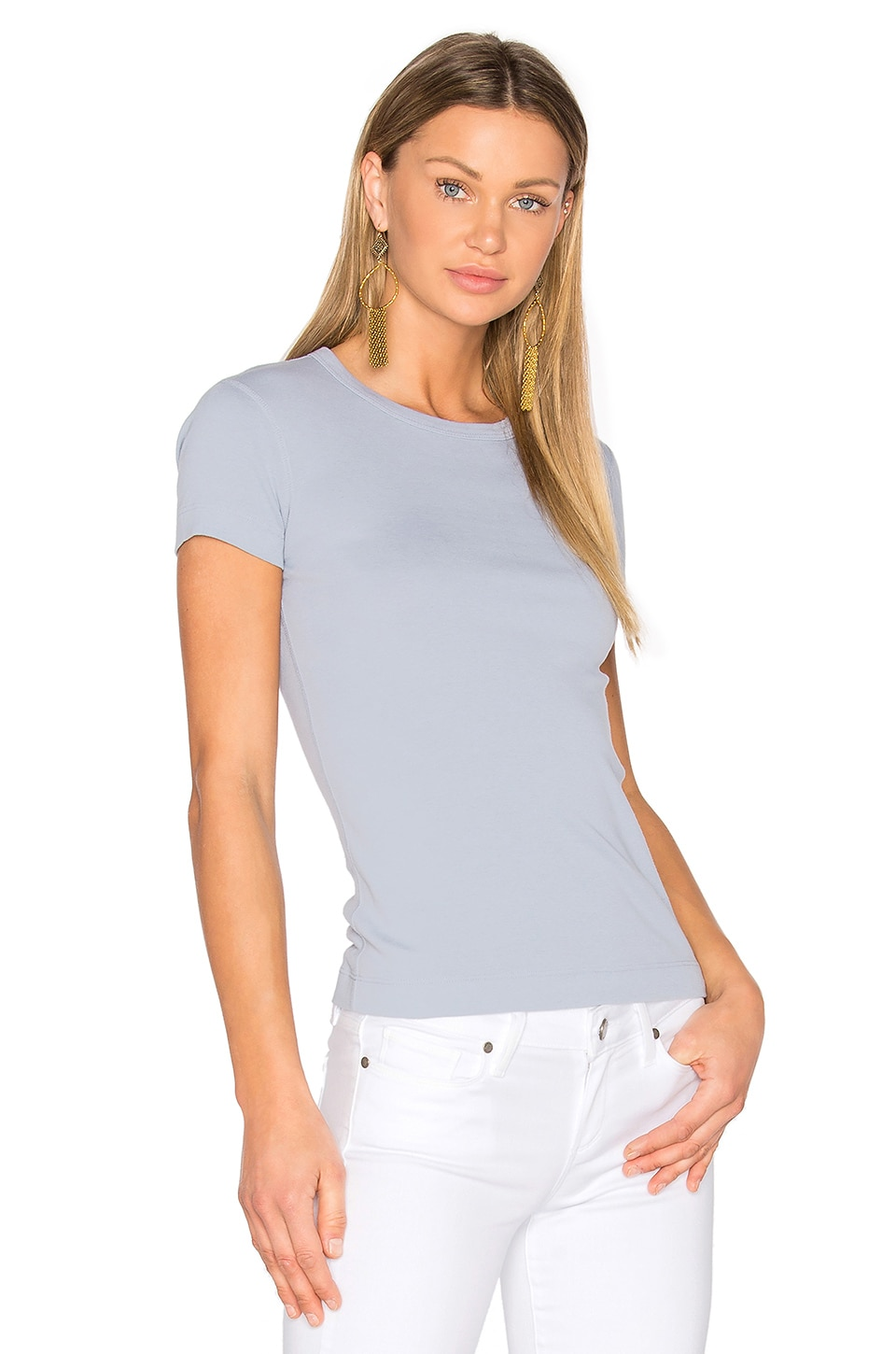 three dots Short Sleeve Crewneck Tee in Blue Puff