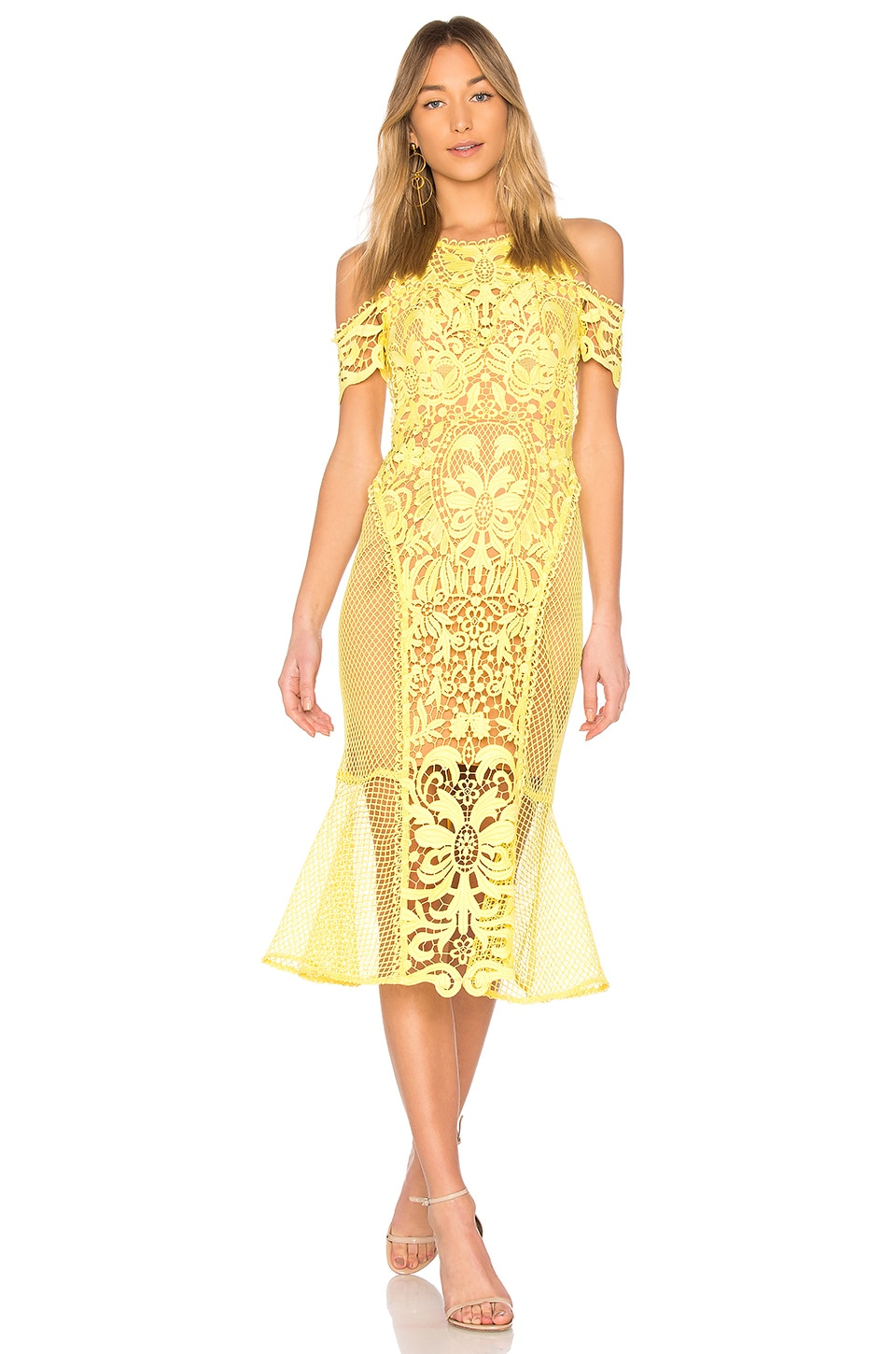 THURLEY Enchanted Garden Midi Dress in Zest