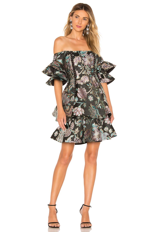 THURLEY Oriental Jacquard Mini Dress in Multi Coral