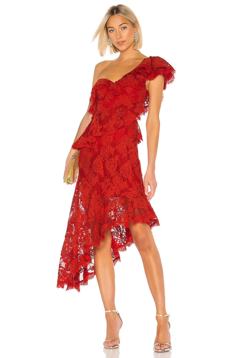 THURLEY Carmen Dress in Lava Red