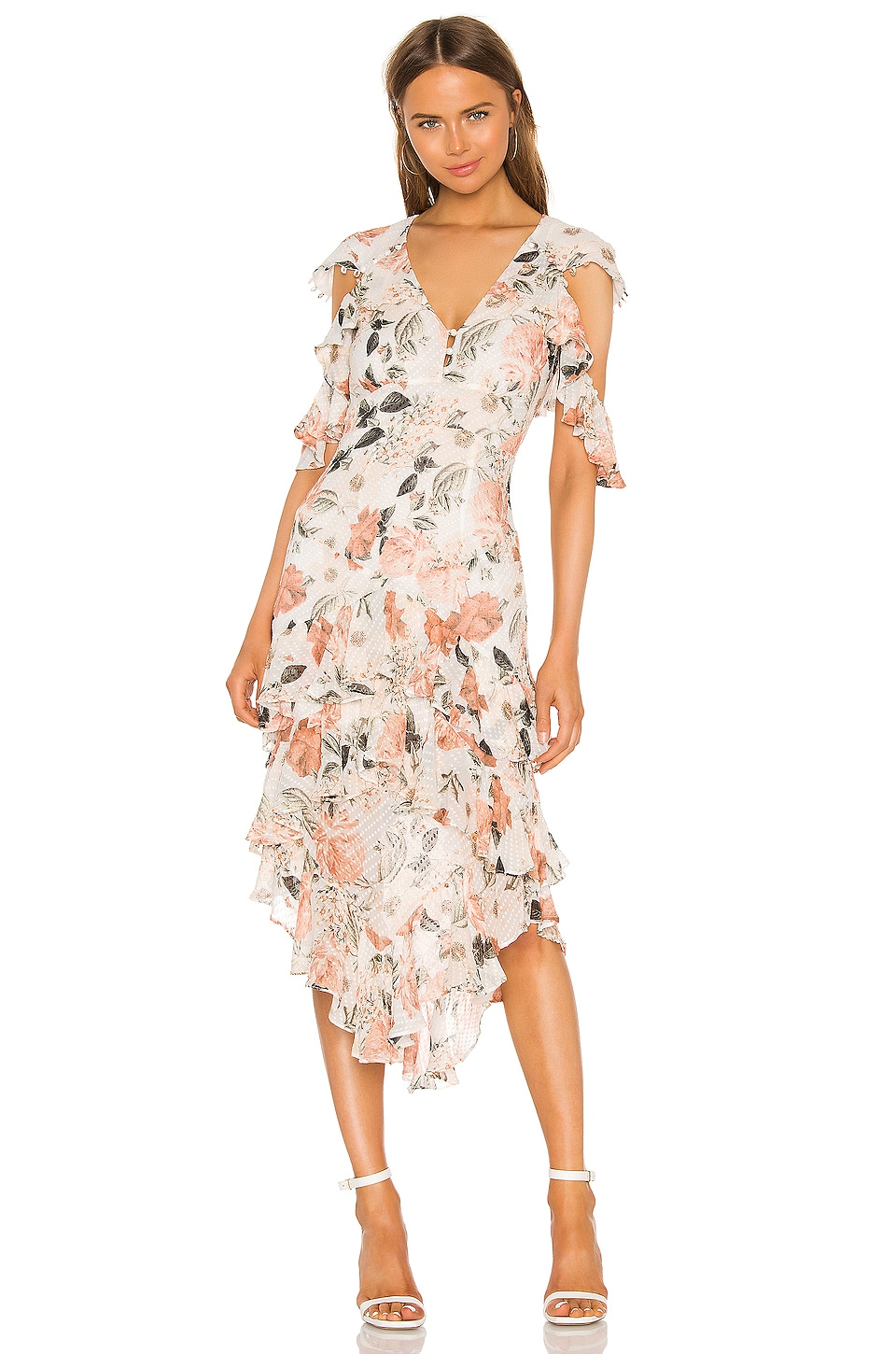 THURLEY Odette Dress in Eden Floral & Ivory