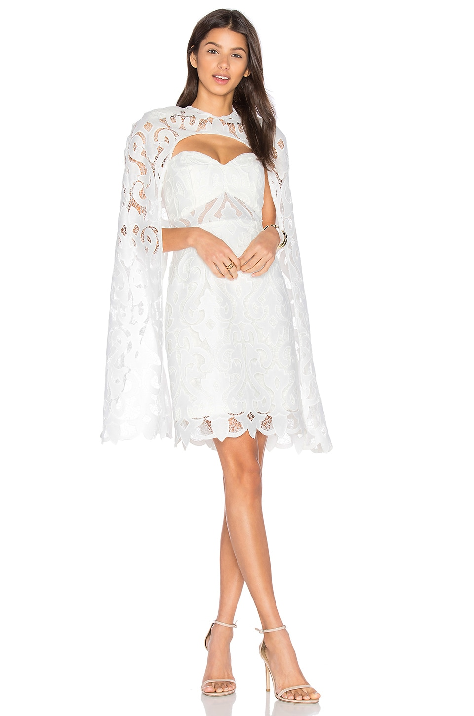 THURLEY Khalessi Cape Dress in Ivory