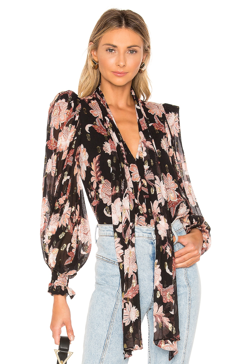 THURLEY Firestone Blouse in Folklore Chintz & Gold Coral