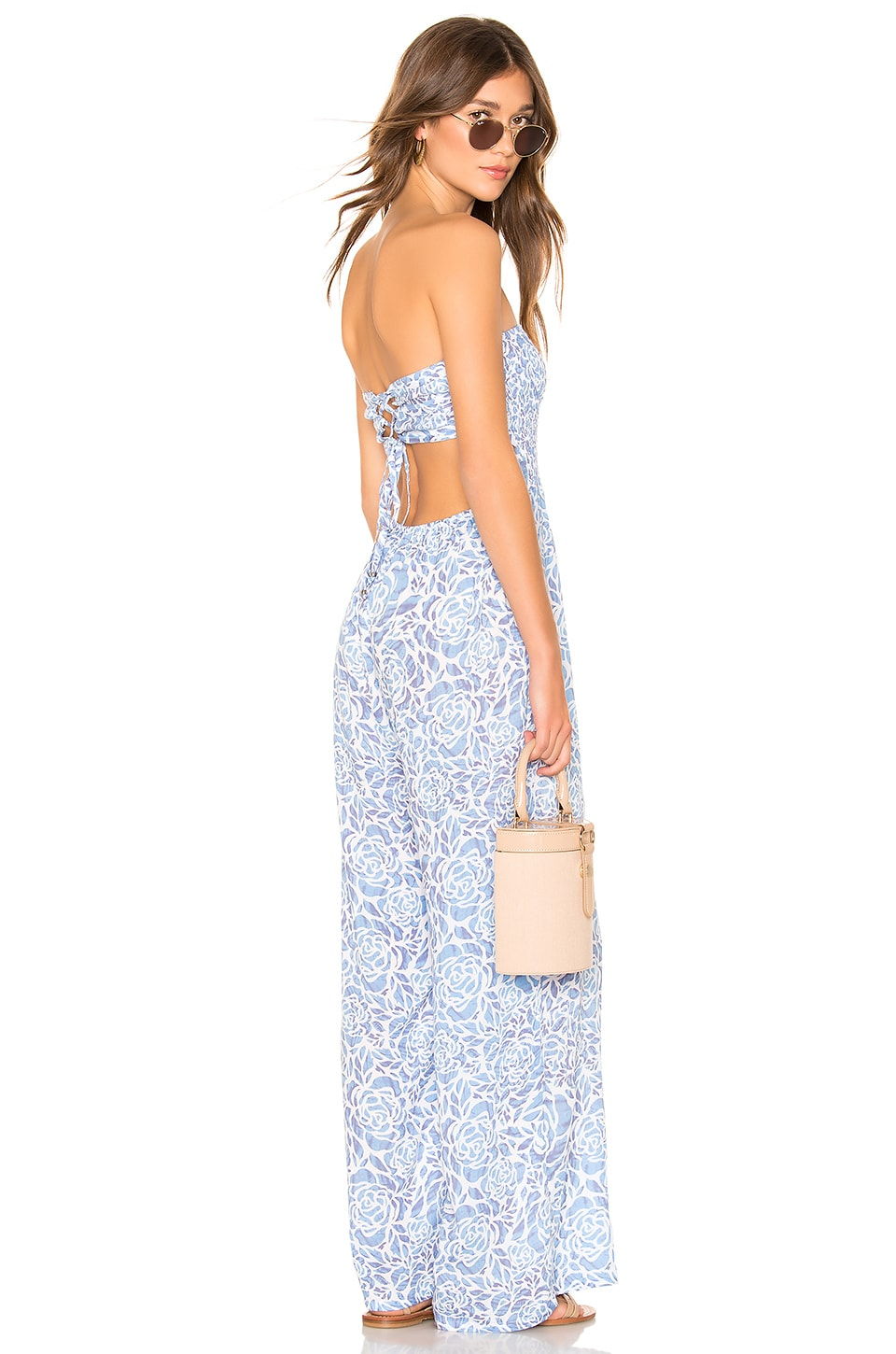 Tiare Hawaii Bennett Jumpsuit in Stained Floral Blue & Mauve