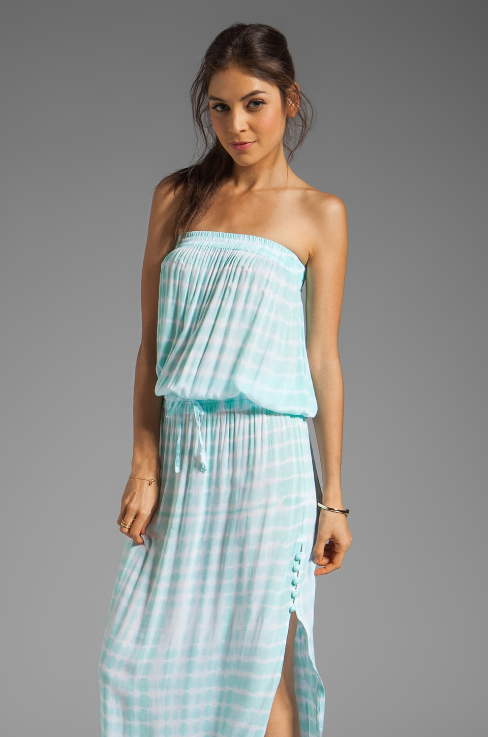 Tiare Hawaii Drifter Dress in Teal White Tie Dye