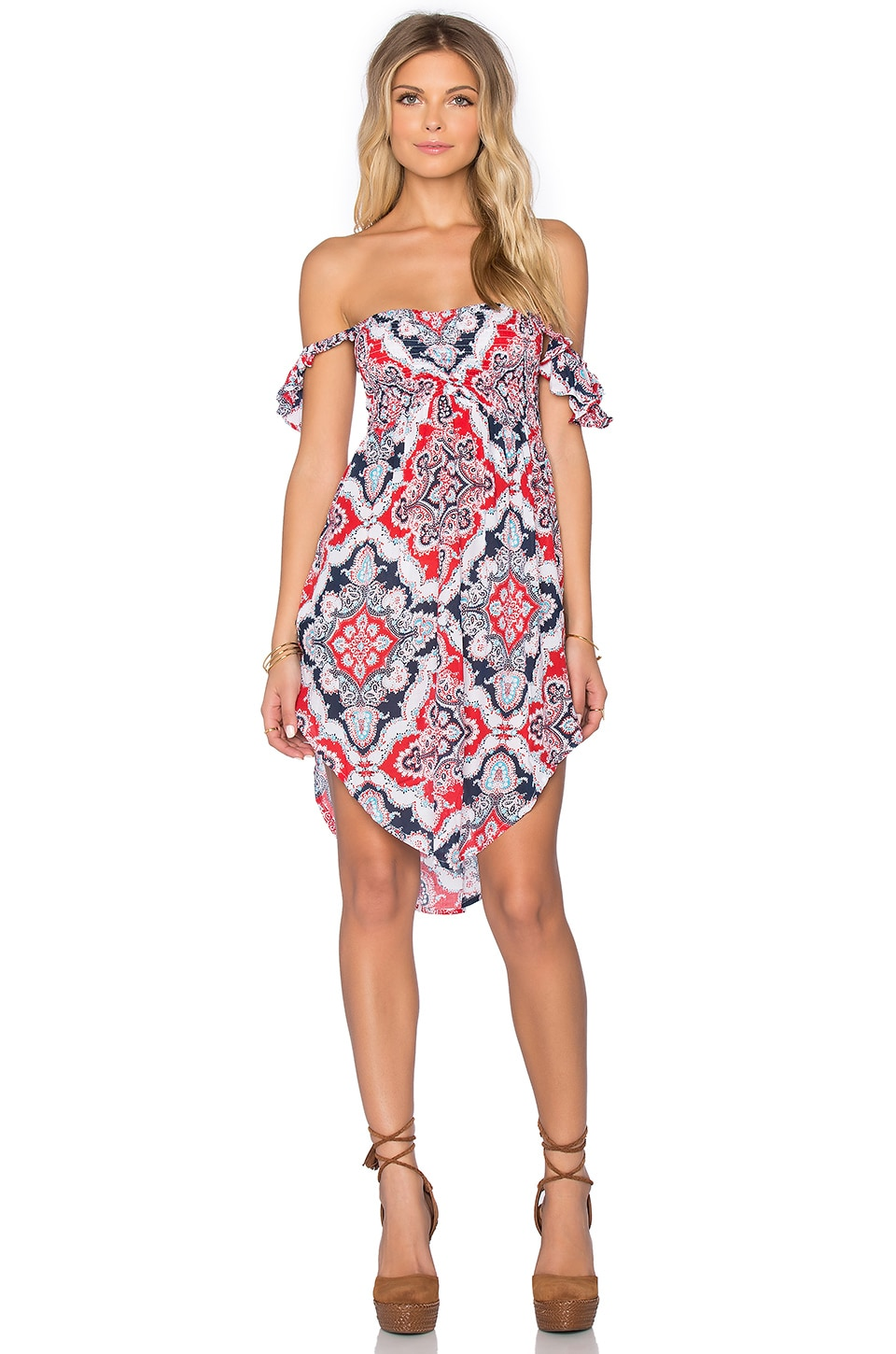 Tiare Hawaii Hollie Off Shoulder Mini Dress in Mosaic Red & Navy Sky
