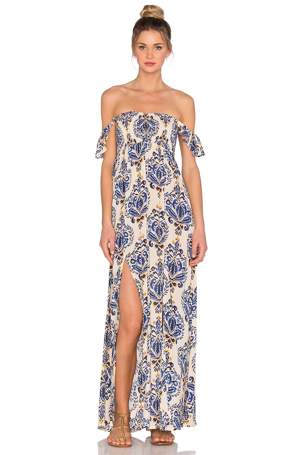 Tiare Hawaii Hollie Off Shoulder Dress in River Cream & Blue