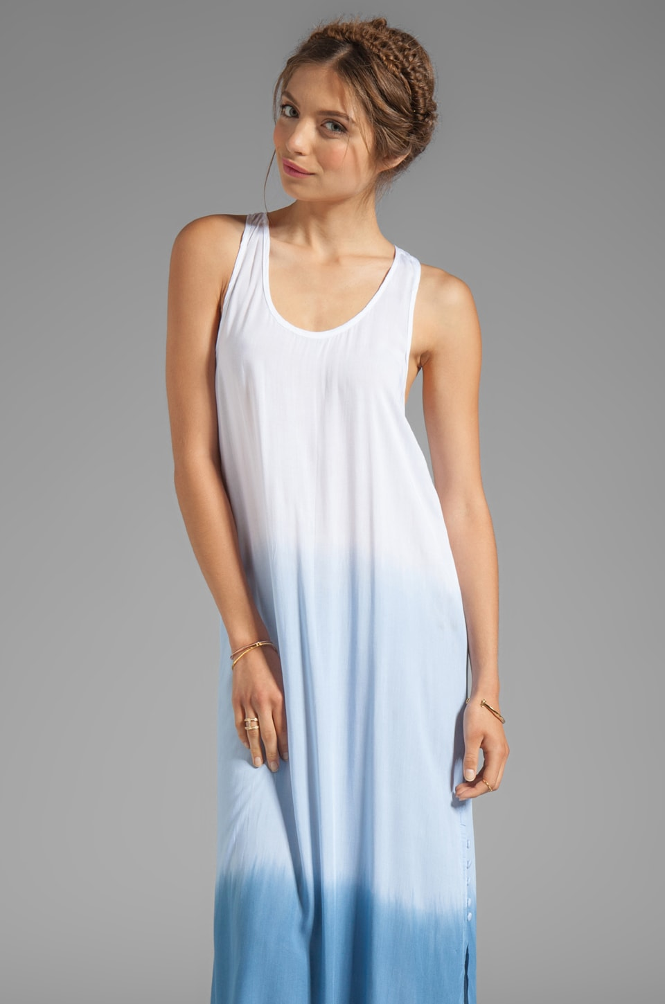 Tiare Hawaii Luna Long Maxi Dress in White blue Ombre