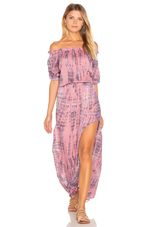 Tiare Hawaii Sage Off Shoulder Dress in Leo Pink Stone