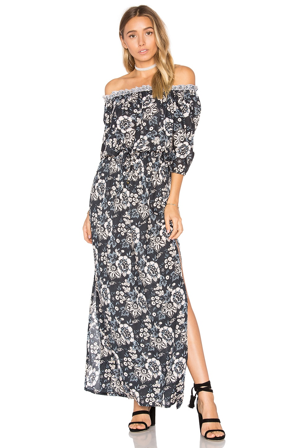Tiare Hawaii Sage Maxi Dress in Folk Black
