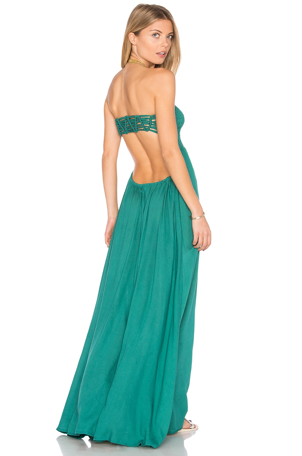 Tiare Hawaii Kai Strapless Maxi Dress in Forest Green