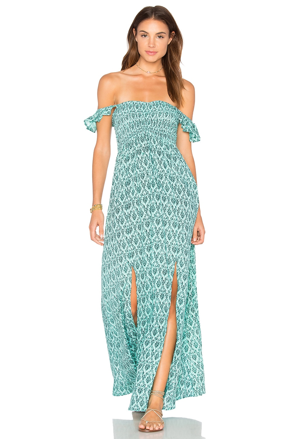 Tiare Hawaii Hollie Off The Shoulder Maxi in Turkish Teal
