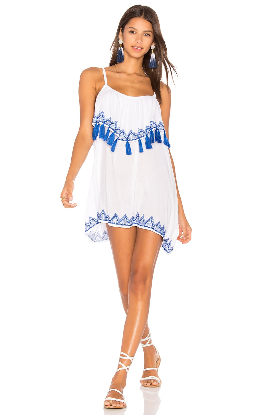 Tiare Hawaii Holter Mini Dress in White & Cobalt