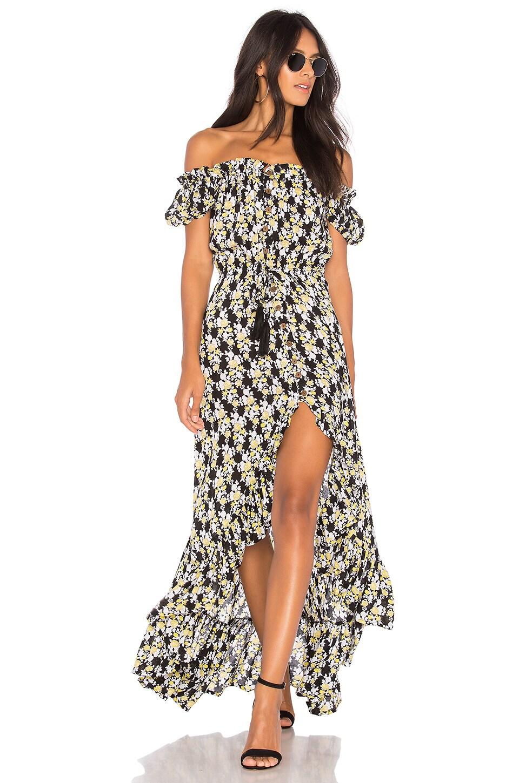 Tiare Hawaii Riviera Dress in Black & Yellow Lei