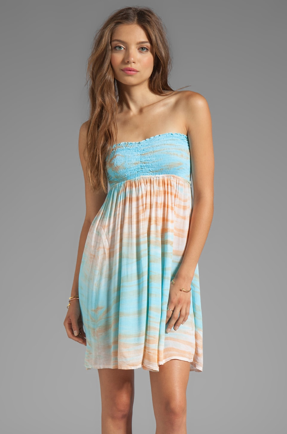Tiare Hawaii Seaside Short Dress in Teal/Orange/WHITE
