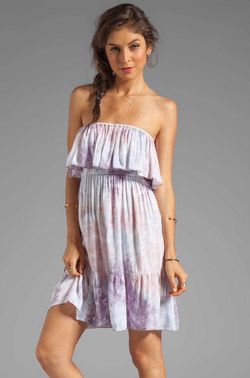Tiare Hawaii Frill Short Dress in Mauve Grey Smoke