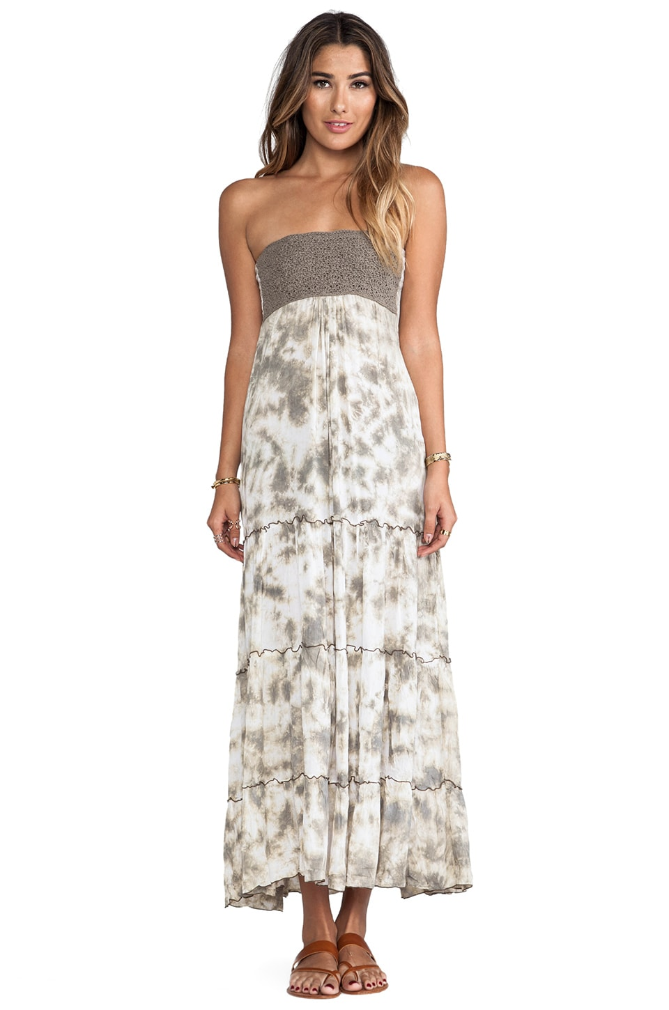 Tiare Hawaii Long Crochet Tube Dress in White Stone