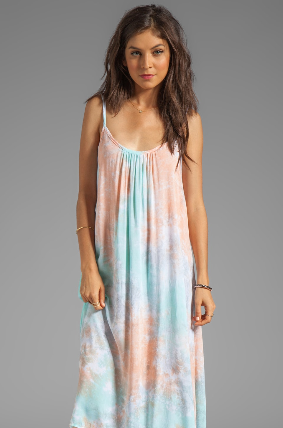 Tiare Hawaii Rio Dress in Peach/Teal/Grey