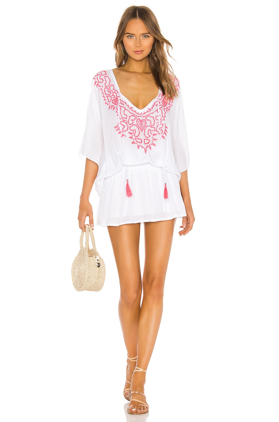 Tiare Hawaii Margarita Dress in White & Hot Pink Embroidery