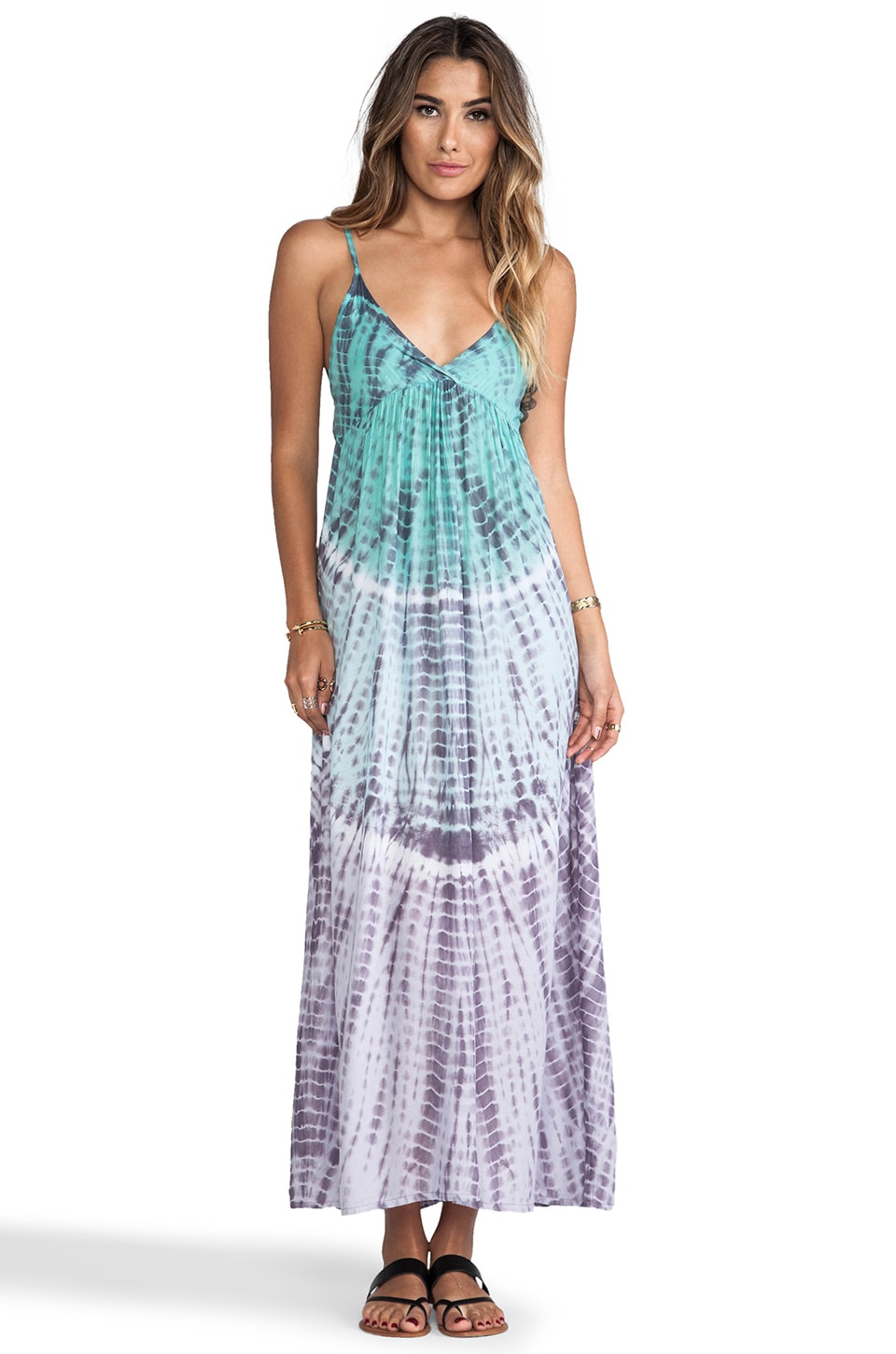Tiare Hawaii Gracie Maxi in Teal/Plum Abstract