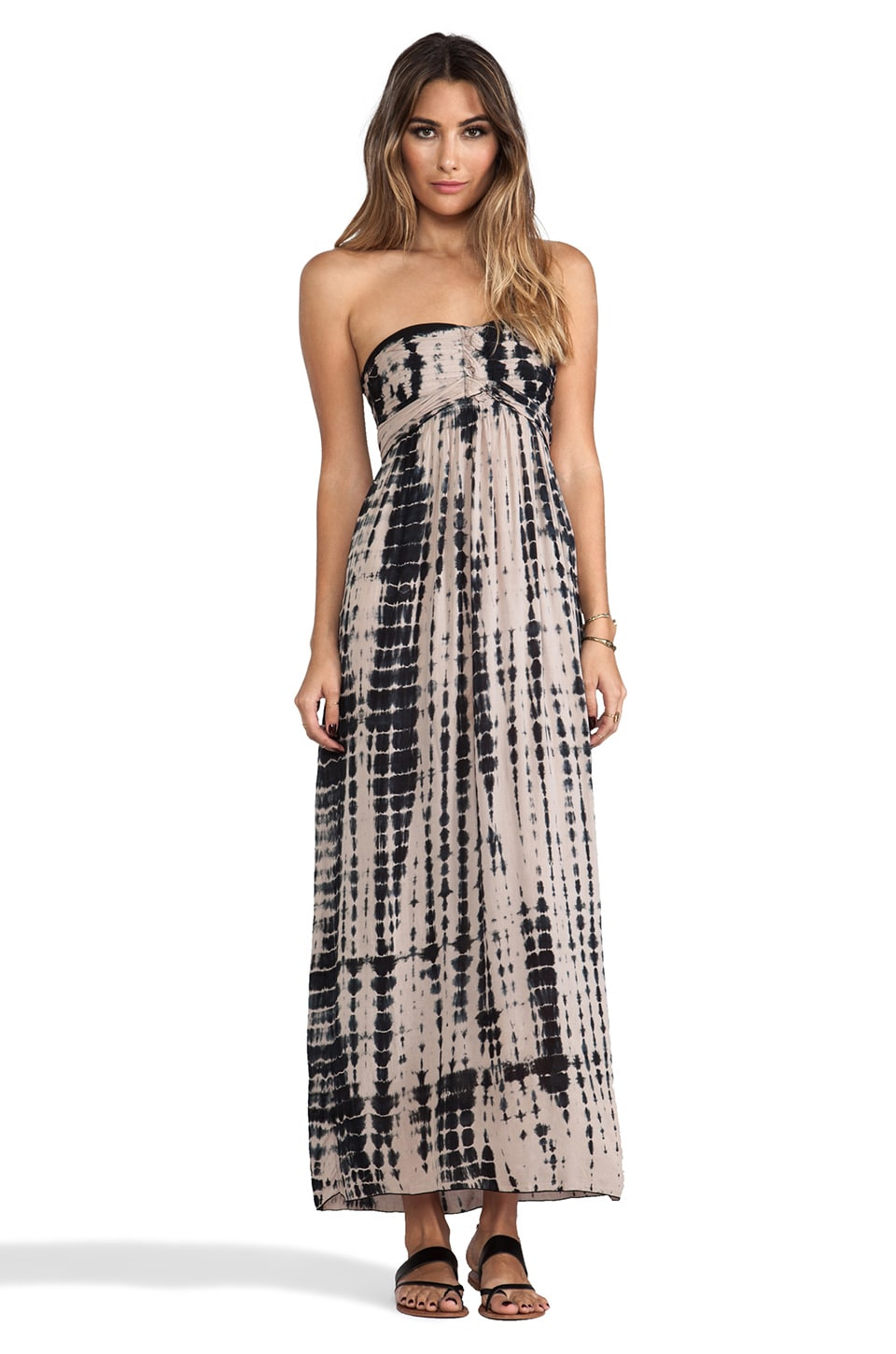 Tiare Hawaii Jasmine Printed Strapless Maxi Dress in Stone Black