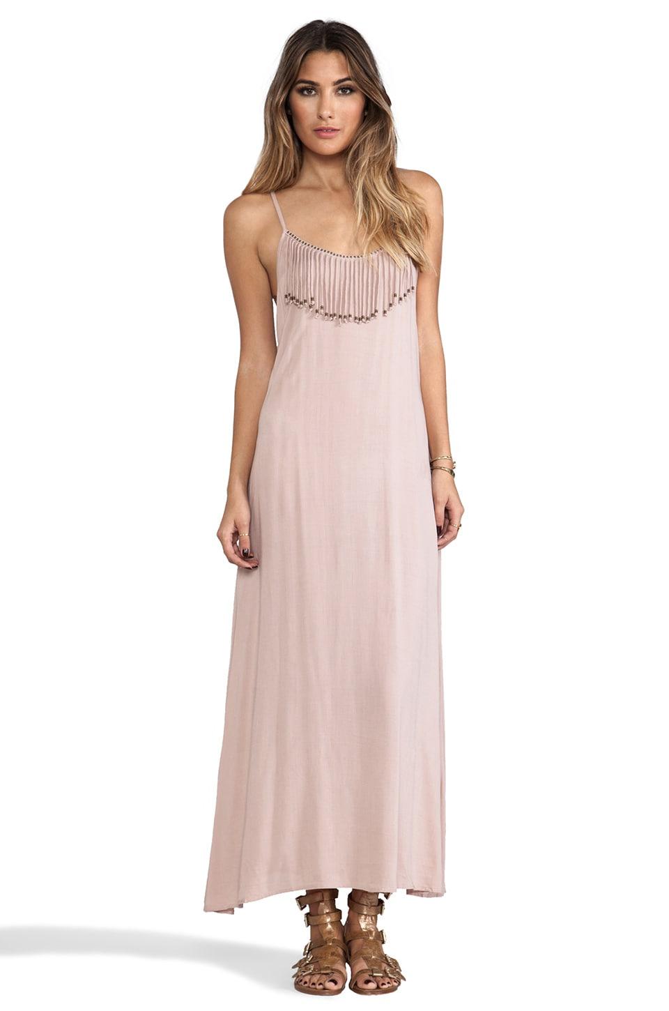 Tiare Hawaii Las Cruces Fringed Neckline Maxi Dress in Fawn