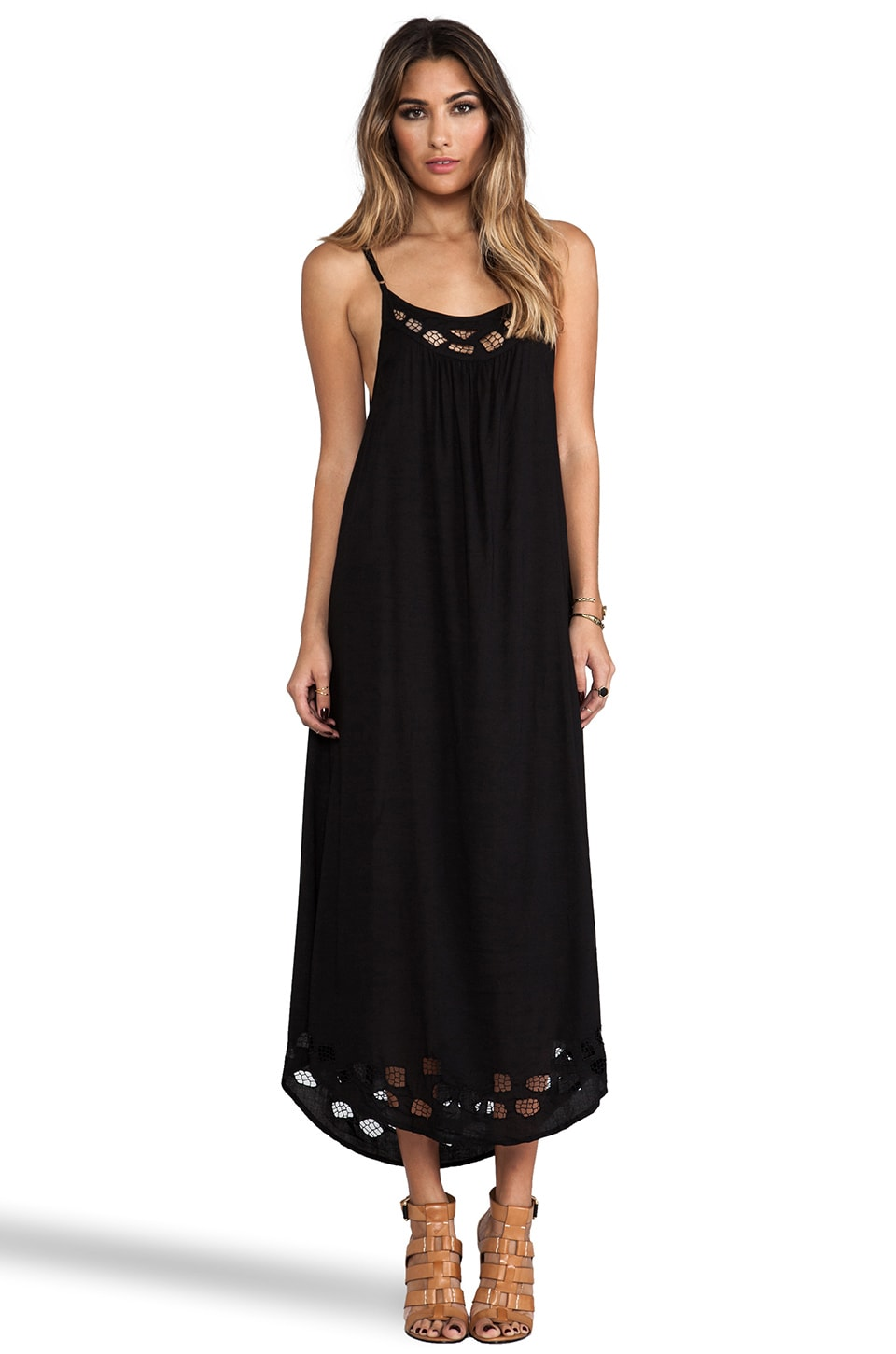Tiare Hawaii Santorini Lace Yoke Maxi Dress in Black