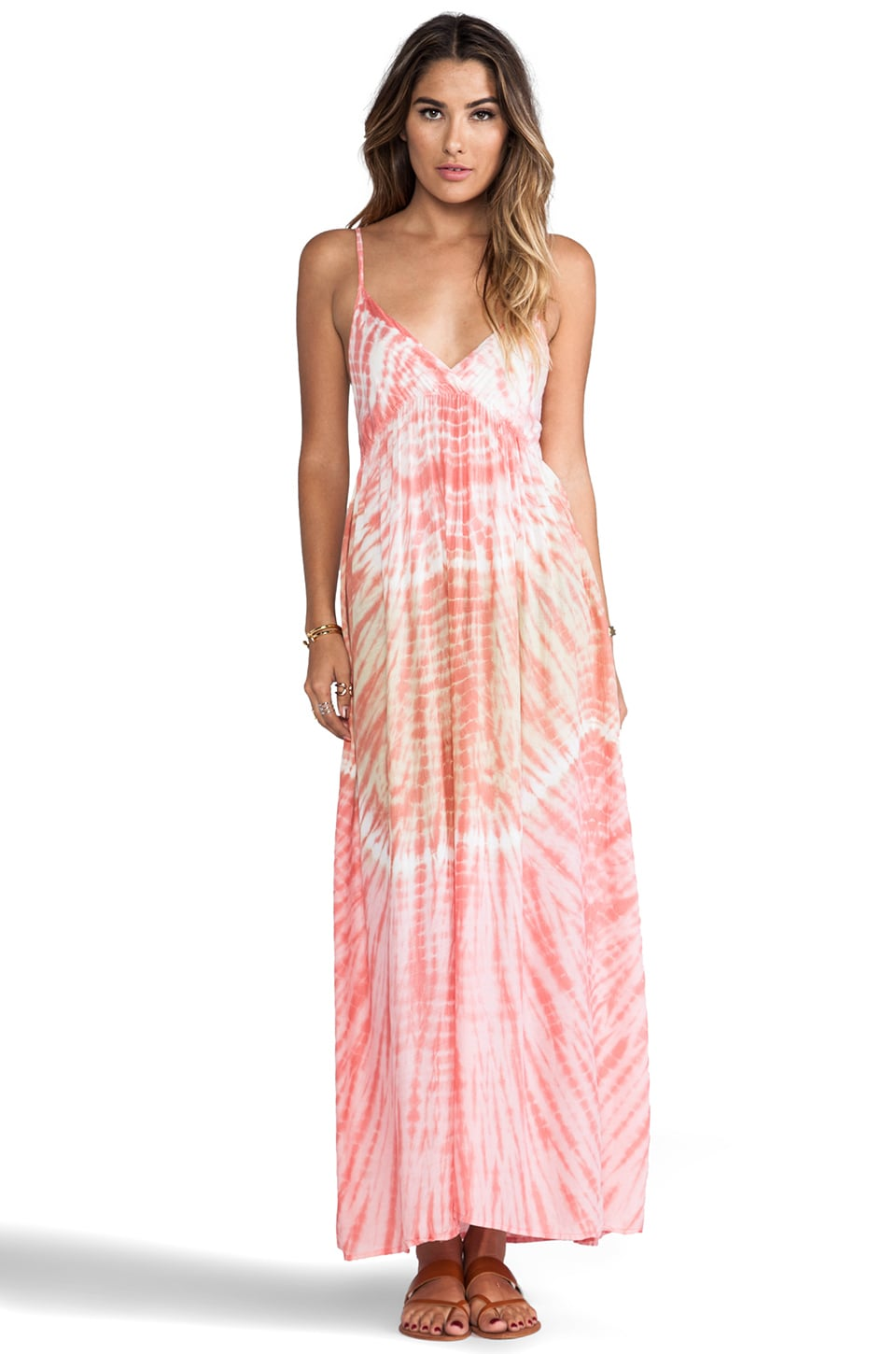 Tiare Hawaii Gracie Maxi Dress in Peach Abstract