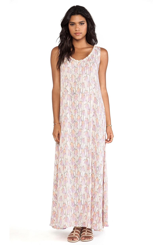 Tiare Hawaii Banyan Scoop Back Braided Neckline Maxi Dress in Feather Print