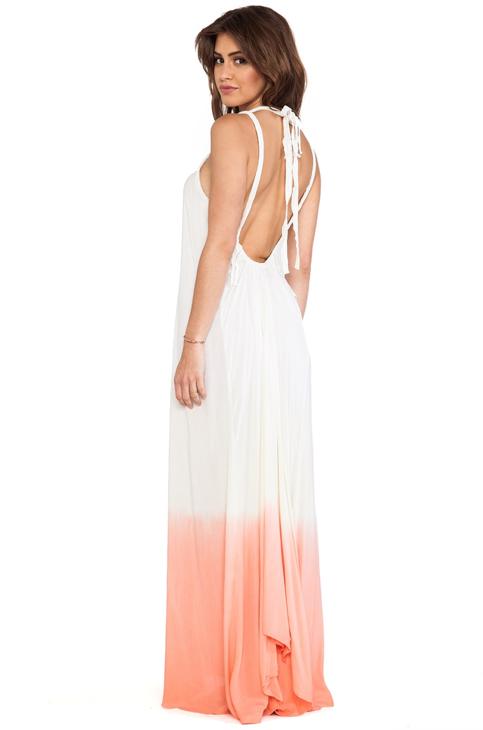 Tiare Hawaii Coco Low Scoop Back Maxi Dress in Coral Cream Ombre