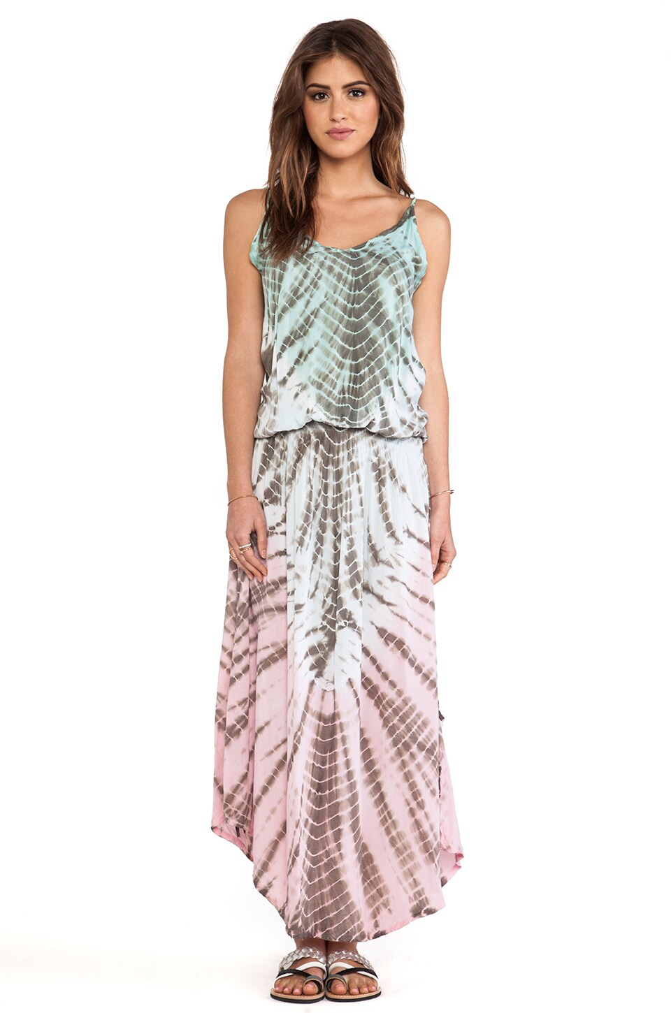 Tiare Hawaii Copacabana Printed Maxi Dress in Teal & Grey & Blue Vibe
