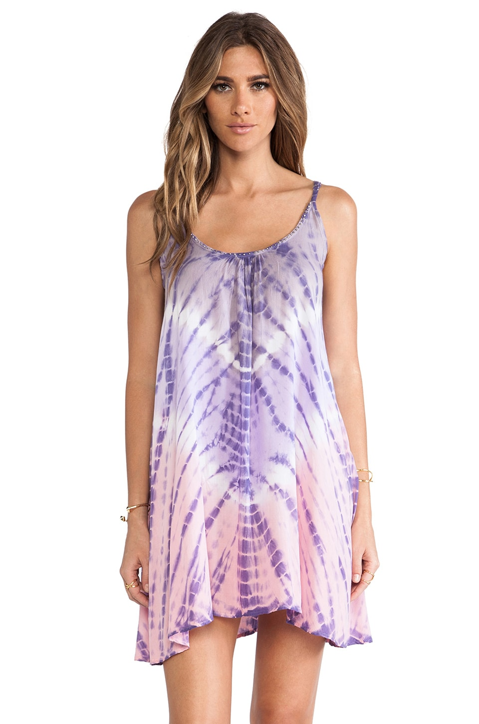 Tiare Hawaii Voile Stud Mini Dress in Grey & Violet & Pink Vibe
