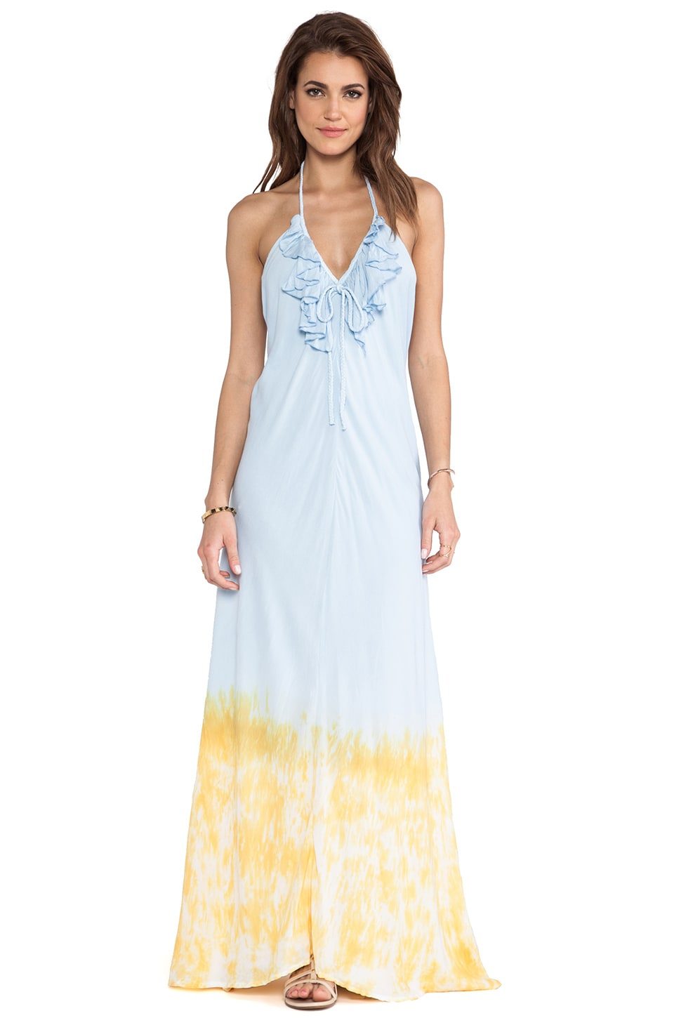 Tiare Hawaii Aries Deep Sea Maxi Dress Tie Dye in Sky & Blue