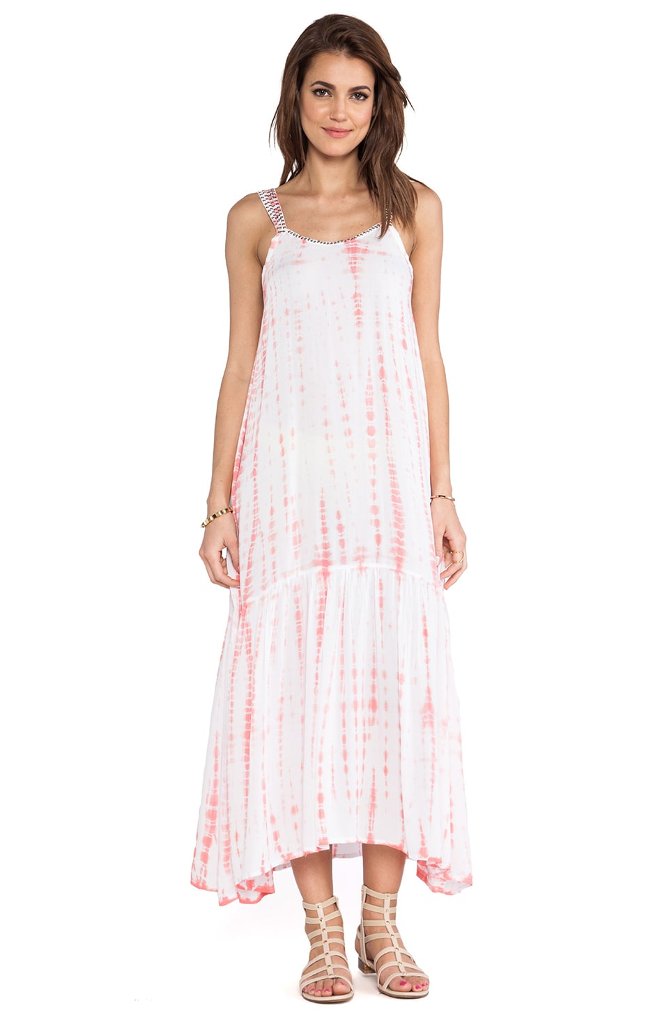 Tiare Hawaii Naples Maxi Dress in Peach White Tie Dye