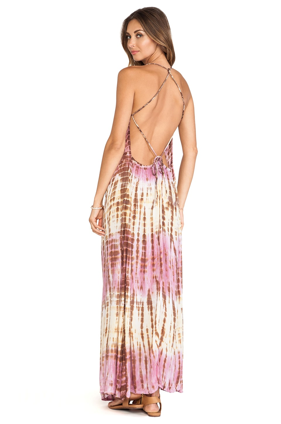 Tiare Hawaii Addiction Maxi Dress in Pink Cream Tie Dye