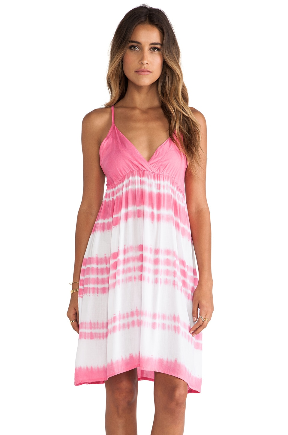 Tiare Hawaii Gracie cami Mini Dress in Hot Pink & White Tie Dye