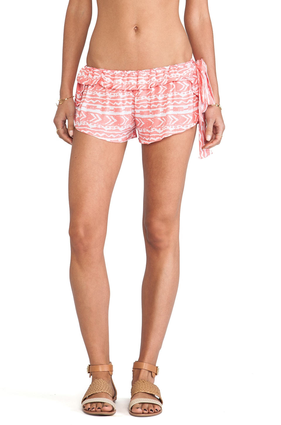 Tiare Hawaii Bryon Bay Shorts in Coral Totem Print